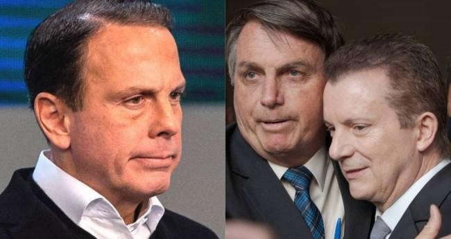 Fotomontagem: João Doria, Jair Bolsonaro e Celso Russomanno