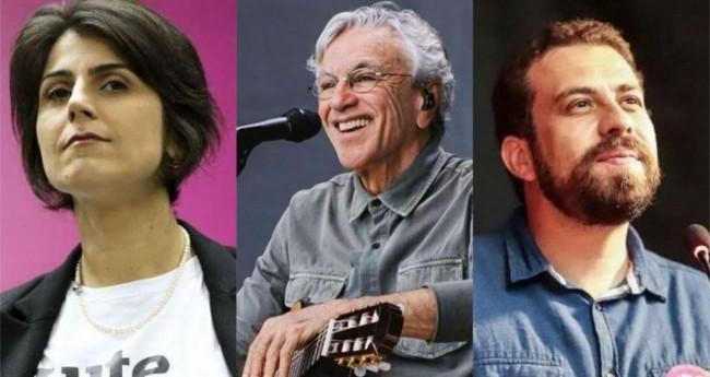 Fotomontagem: Manuela dÁvila, Caetano Veloso e Guilherme Boulos
