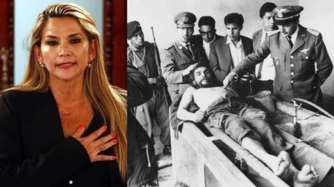 Fotomontagem: A presidente da Bolívia, Jeanine Áñes. Che Guevara capturado.