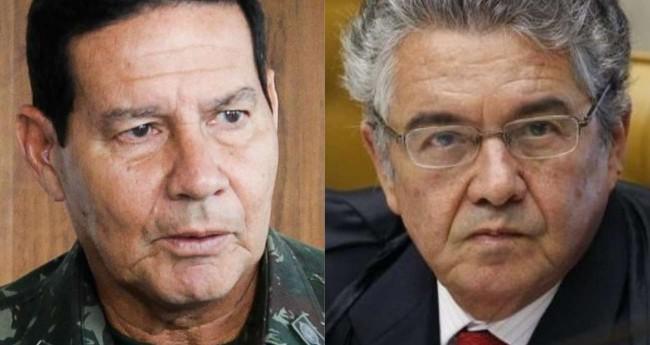 Fotomontagem: General Hamilton Mourão e Marco Aurélio Mello