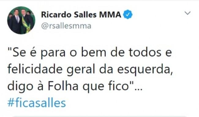 Publicação de Ricardo Salles no Twitter