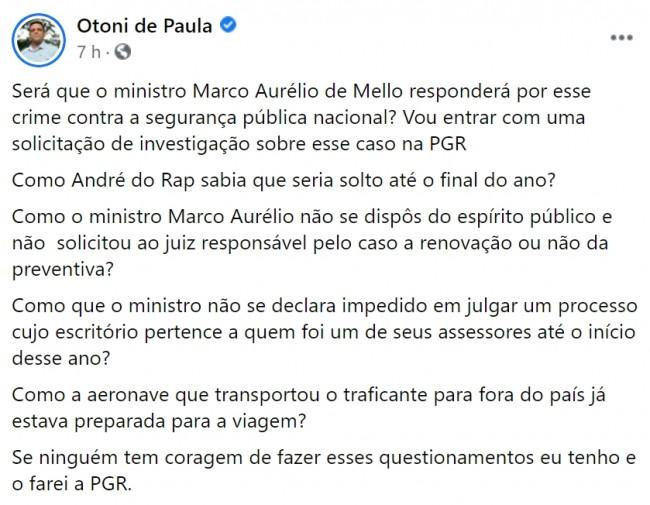 Publicação de Otoni de Paula no Facebook