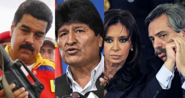 Fotomontagem: Nicolas Maduro, Evo Morales, Cristina Kirchner e Alberto Fernandez