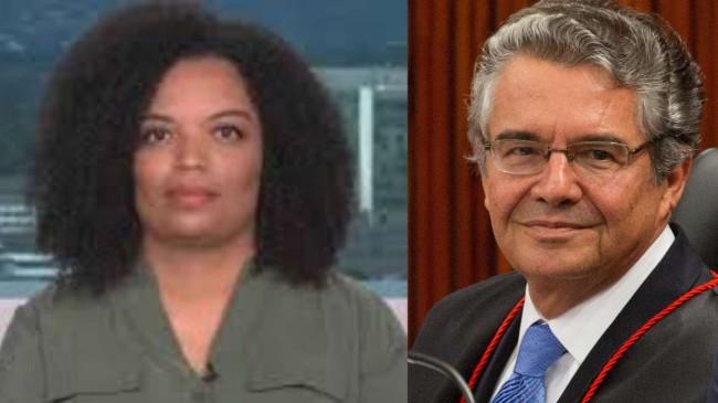 A repórter Basília Rodrigues e o ministro Marco Aurélio