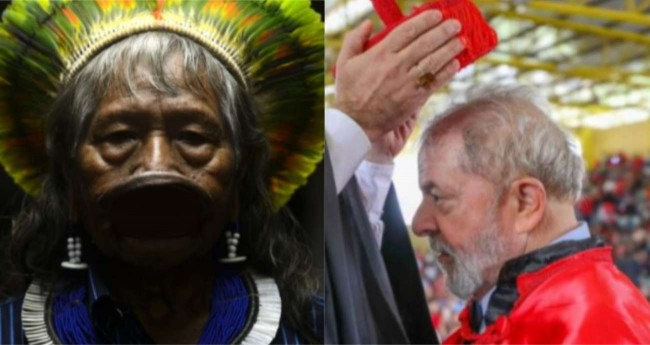 Fotomontagem: Índio Raoni e Lula