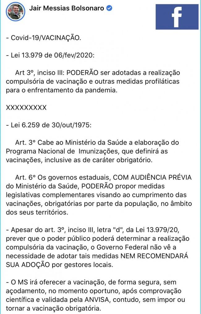 Publicação de Jair Bolsonaro no Facebook