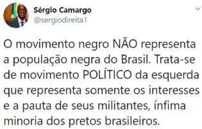 Publicação de Sérgio Camargo no Twitter