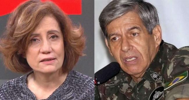 Fotomontagem: Miriam Leitão e general Augusto Heleno