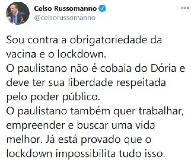 Publicação de Celso Russomanno no Twitter