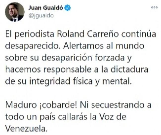 Publicação de Juan Guaidó no Twitter