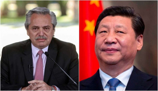 Fotomontagem: Alberto Fernandez e Xi Jinping