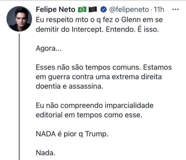 Publicação de Felipe Neto no Twitter