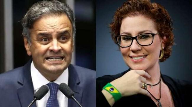 Fotomontagem: Aécio Neves e Carla Zambelli