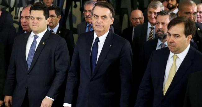 Davi Alcolumbre, Jair Bolsonaro e Rodrigo Maia
