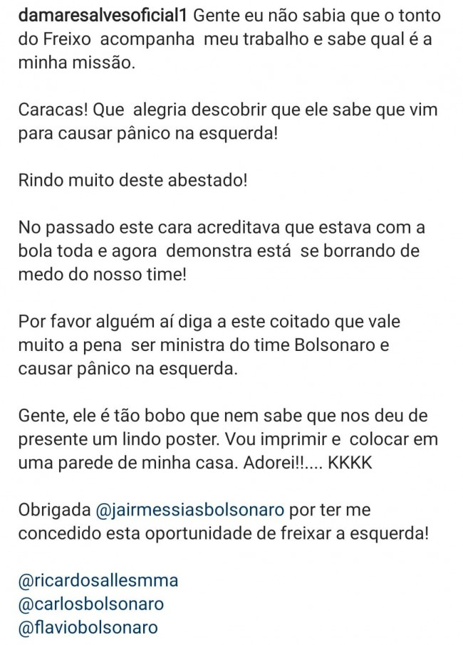 Publicação de Damares Alves no Instagram