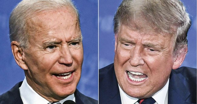 Fotomontagem: Joe Biden e Donald Trump