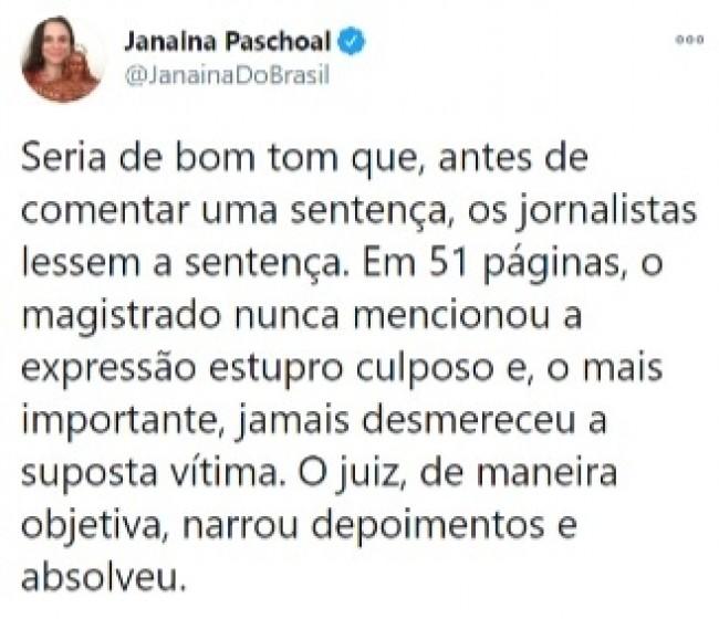 Publicação de Janaína Paschoal no Twitter