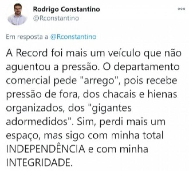 Publicação de Rodrigo Constantino no Twitter