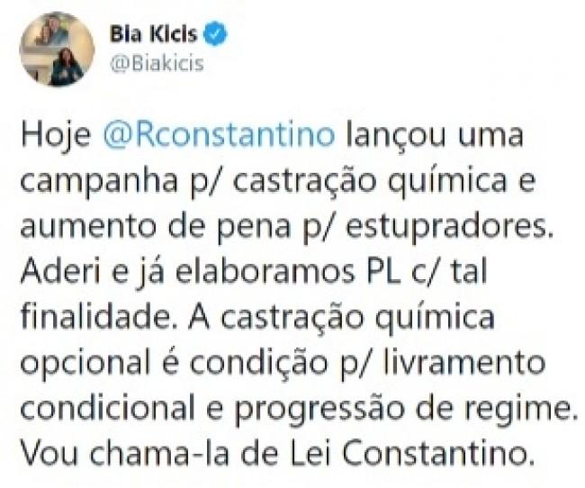 Publicação de Bia Kicis no Twitter