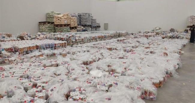 Cestas estavam no depósito de um mercado em Boa Vista — Foto: Divulgação/PF