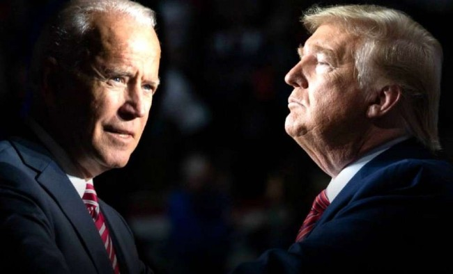 Fotomontagem: Joe Biden e Donald Trump