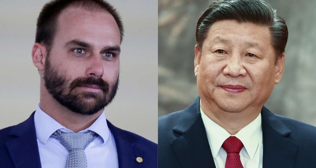 Fotomontagem: Eduardo Bolsonaro e Xi Jinping