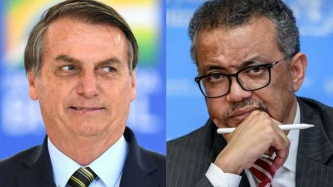 Fotomontagem: Jair Bolsonaro e Tedros Adhanom