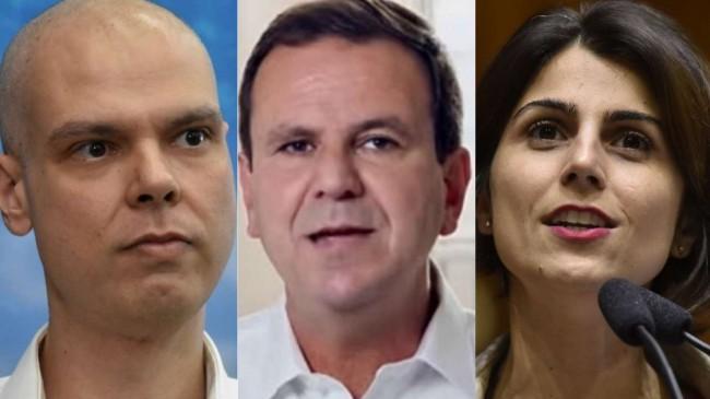 Fotomontagem: Bruno Covas, Eduardo Paes e Manuela DÁvila