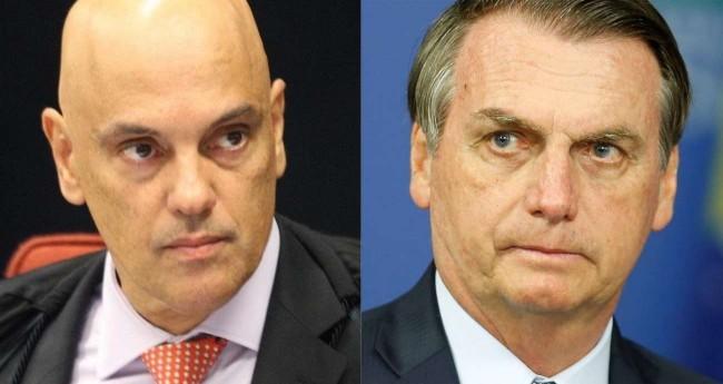 Fotomontagem: Alexandre de Moraes e Jair Bolsonaro