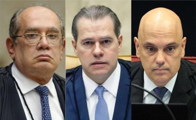 Fotomontagem: Gilmar Mendes, Dias Toffoli e Alexandre de Moraes