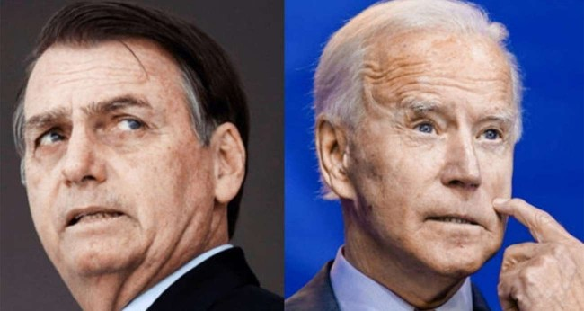 Fotomontagem: Jair Bolsonaro e Joe Biden