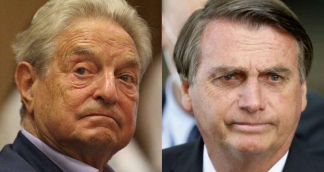 Fotomontagem: George Soros e Jair Bolsonaro