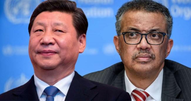 Fotomontagem: Xi Jinping e Tedros Adhanom