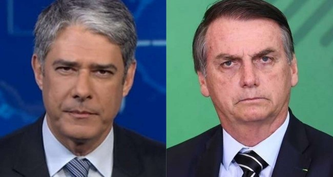 Fotomontagem: William Bonner e Jair Bolsonaro