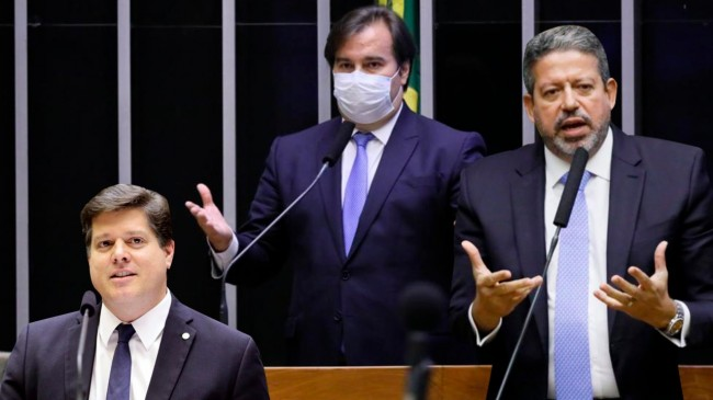 À esquerda, Baleia Rossi; no centro, Rodrigo Maia e, à direita, Arthur Lira