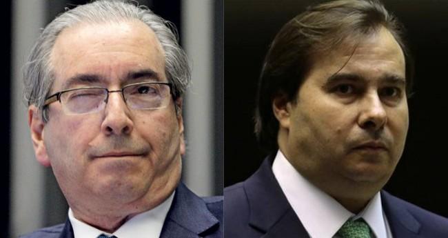 À esquerda, Eduardo Cunha e, à direita, Rodrigo Maia