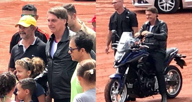 Jair Bolsonaro durante passeio de moto em Brasília.