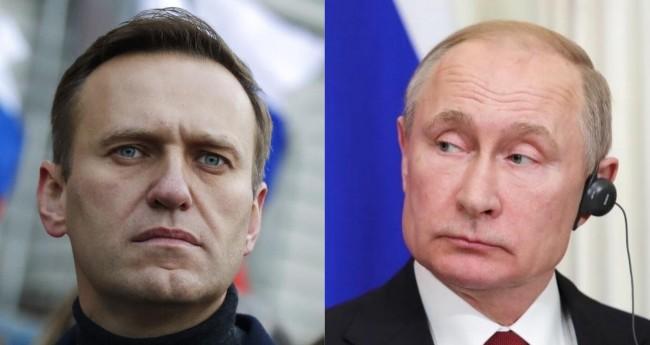 Fotomontagem: Navalni e Putin