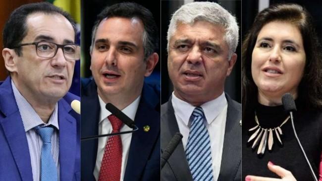 Jorge Kajuru, Rodrigo Pacheco, Major Olímpio e Simone Tebet