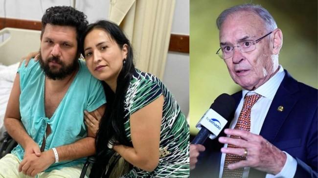 Fotomontagem: Oswaldo Eustáquio e a esposa. E o saudoso senador Arolde de Oliveira.