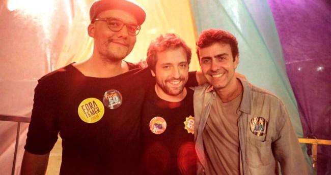 Wagner Moura, Gregório Duvivier e Marcelo Freixo