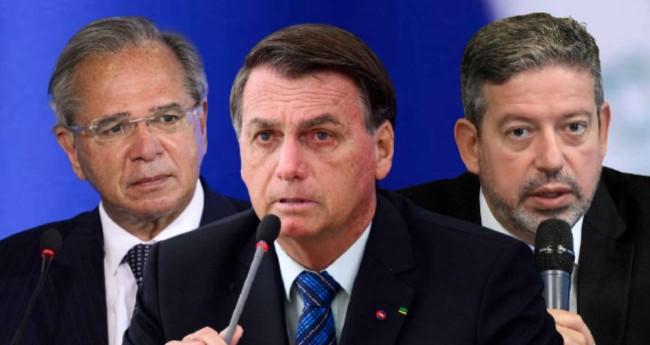 Fotomontagem: Paulo Guedes, Jair Bolsonaro e Arthur Lira