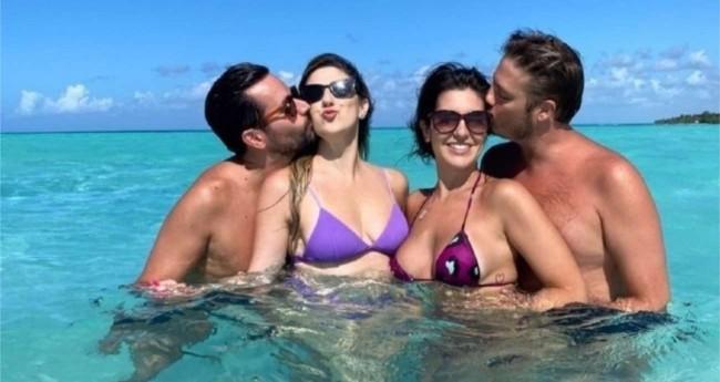 Dani Calabresa e Fábio Porchat com seus companheiros curtindo o Caribe