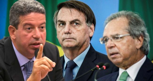 Fotomontagem: Arthur Lira, Jair Bolsonaro e Paulo Guedes