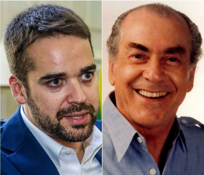 Eduardo Leite e Brizola - Fotomontagem
