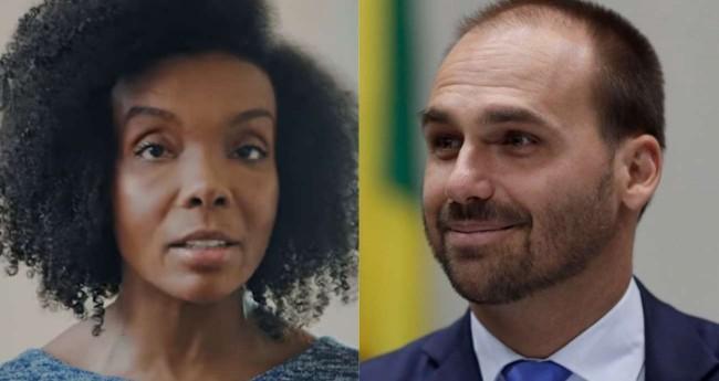 Fotomontagem: Thelminha e Eduardo Bolsonaro (Reprodução)