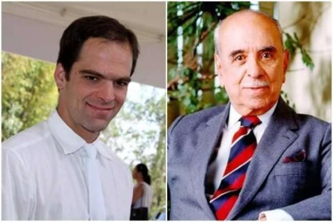 Rodrigo Marinho e o avô, Roberto Marinho - Foto: Reprodução/CBH e Arquivo/Acervo Roberto Marinho/TV Globo