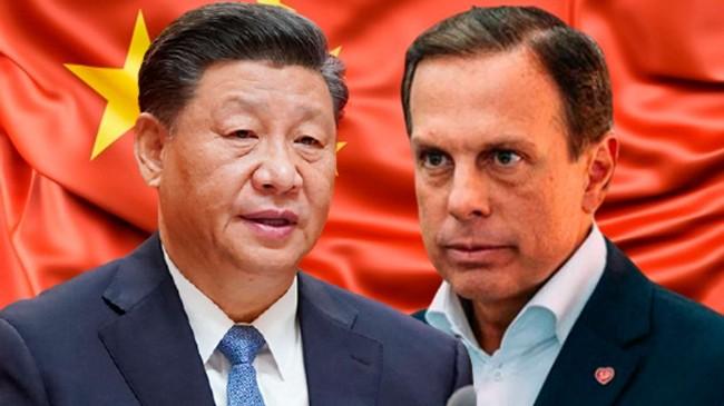 Fotomontagem: Xi Jinping e João Doria (Reprodução)