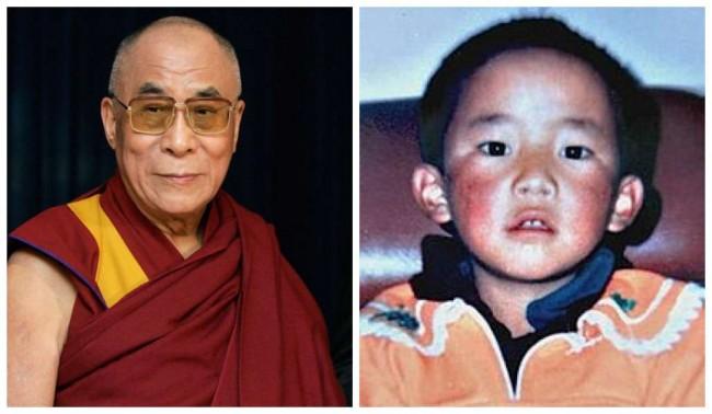 Dalai Lama e seu sucessor, quando era criança - Reprodução internet