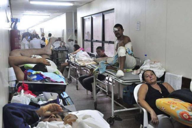 A foto é de um hospital no governo Dilma, que preferiu construir estádios.
